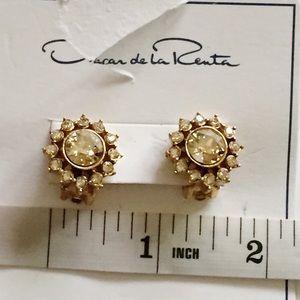Oscar De La Renta Swarovski Gold Tone Earrings